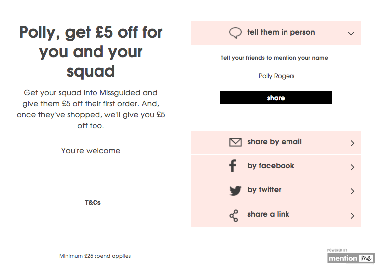 Missguided refer a friend scheme