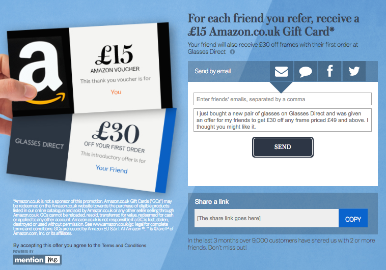 Glasses Direct Referral Reward Scheme
