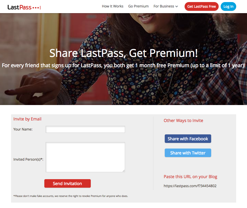 Lastpass referral programme