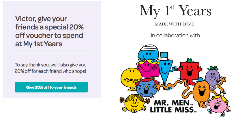 My 1st Years Mr Men Referral Offer