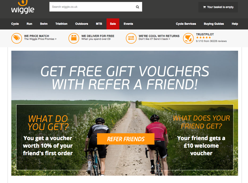 Wiggle Refer a Friend Marketing