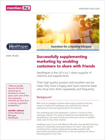 Healthspan referrals as acquisition case study