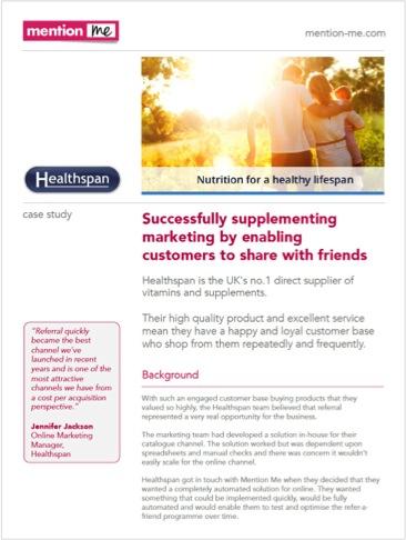 Healthspan referrals as acquisition case study