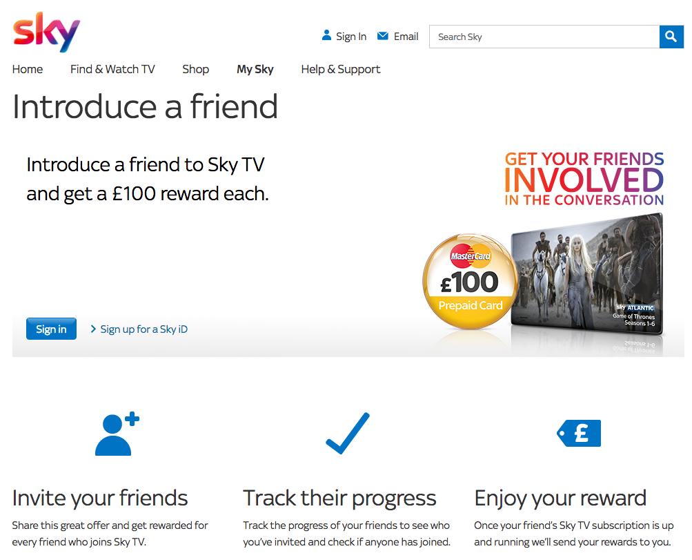 Sky Introduce a Friend programme